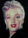 Actress Marilyn Monroe Wearing Dangling Rhinestone Earrings  with Her Hair Up