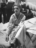 "Actress Lauren Bacall Sitting on Bed During Break on the Set of the Movie ""Young Man with a Horn"""