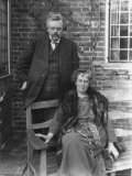 British Author G K Chesterton and His Wife Outdoors  in Portrait