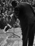 Trumpeter Louis Armstrong Bowing to a Spellbound Dutch Audience During a Concert with His Band