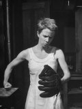 "Actress Julie Harris  Punching a Baseball Glove in Scene from Play ""Member of the Wedding"""