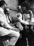 Sophia Loren Sitting on Director Vittorio de Sica&#39;s Lap During Filming &quot;Marriage  Italian Style&quot;