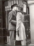 Soldier Kissing His Girlfriend Goodbye in Pennsylvania Station Before Returning to Duty