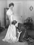 Mrs Elizabeth Arden Graham Having Her Maid Fix Hem of Evening Gown