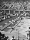 Competitors Diving Into Pool During Swimming Events