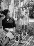 "Actress Sophia Loren with Girl Holding a Flower During Picnic While Filming ""Madame Sans Gene"""
