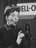 Performer Fanny Brice as Baby Snooks Spelling Out Jell-O in Baby Voice for Radio Commercial