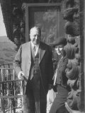 "Publisher William Randolph Hearst and Visitor Mrs Burton Holmes on Balcony of ""Ranch House"""