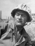 "Actor John Wayne as Marine Sgt Platoon Leader in Scene From the Movie ""Sands of Iwo Jima"""