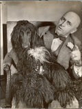 "Britain's Top Journalist Vladimir Poliakoff aka ""Augur "" Posing with His Beloved Afghan Hound"