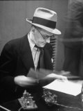 Gossip Columnist Walter Winchell Checking Script Before His Radio Broadcast at NBC Radio Studio