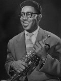 "Portrait of Dizzy Gillespie  ""Bebop"" King  Holding His Trumpet"