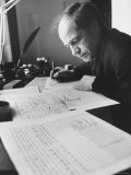 Orchestra Conductor Pierre Boulez Studying and Writing Music in His Home