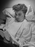 Actress Dorothy Mcguire Reading a Script in Bed at Home
