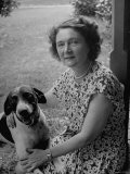 Novelist Marjorie K Rawlings Petting Her Dog
