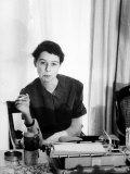 Writer Carson McCullers Sitting at Typewriter