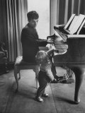 Russian Pianist Vladimir Ashkenazy and Son at Piano at Their Elegant Country Home