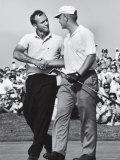 Golfer Jack Nicklaus and Arnold Palmer During National Open Tournament Aluminium par John Dominis