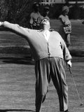 Comedian Jackie Gleason Playing Golf at Broadmoor Hotel During Publicity Tour Regarding His Return
