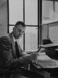 Harvard University Professor John Kenneth Galbraith Sitting in a Harvard Library