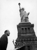 Singer Harry Belafonte  Speaking at Civil Rights Rally at Statue of Liberty