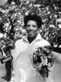 Althea Gibson Holding the Suzanne Lenglen Cup After Winning the French Title