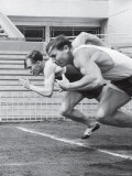 Soviet Athletes Boris Tokarev and Vladimir Suharev Practicing for the Russian Olympics
