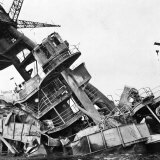 Wreckage of American Battleship USS Arizona  Sunk During Japanese Surprise Attack on Pearl Harbor