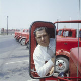 Union President Jimmy Hoffa&#39;s Image Reflected in Rear View Mirror in Red Truck