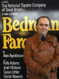 """British Playwright Alan Ayckbourn Standing Before Broadway Poster of His Comedy """"Bedroom Farce"""""""