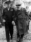 Winston Churchill Walking with General Dwight Eisenhower During Visit to France
