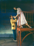 "Larry Kert and Carol Lawrence in Fire Escape Scene from ""West Side Story"""