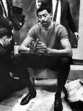 Philadelphia 76Er Wilt Chamberlain in Locker Room During Nba Playoffs Against Boston Celtics