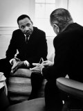 Civil Rights Leader Dr Martin Luther King with Pres Lyndon Johnson During Visit to the White House