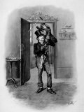 Bob Cratchit Holding Son Tiny Tim Joyously Aloft  from Dicken&#39;s Tale  &quot;A Christmas Carol&quot;