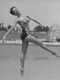 Ballet Dancer Cyd Charisse Who Aspires to be a Movie Star at Santa Monica Beach