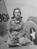 Shirley Slade Pilot Trainee in Women's Flying Training Detachment  Sporting Pigtails  GI Coveralls