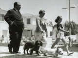 Director Alfred Hitchcock  Wife Alma and Daughter Patricia Take a Morning Stroll with Their Dogs