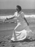 Claudette Colbert in Zippered  Terry Cloth Beach Robe  Sashaying Along Surf at Santa Monica Beach