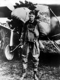 "Aviator Charles Lindbergh Posing in Front of His Plane ""The Spirit of St Louis"""