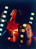 Film Director Quentin Tarantino Framed by Projected Clip From His Movie &quot;Pulp Fiction&quot;
