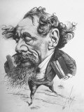 French Caricature of English Novelist Charles Dickens as a Colossus Striding from London Across