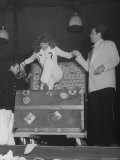 Rita Hayworth and Orson Welles Performing a Magic Show on Stage