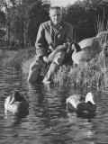 Mail Order Co Founder Leon Leonwood Bean Testing Wooden Duck Decoys