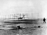 Wright Brothers Wilbur and Orville with 1903 Airplane &quot;Kitty Hawk&quot; on First Flight