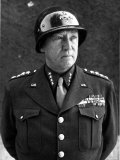American Four Star General George S Patton Jr  Commander of Us 3rd Army  in Uniform and Helmet