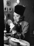 Gertrude Lawrence Carefully Applying Her Lipstick with a Brush in Her Theater Dressing Room