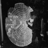 US Navy Technician Marking Radar Data on Chart  Tracking Enemy Japanese Ships in WWII Pacific