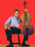 Classical Cellist Yo-Yo Ma Sitting with Cello in Smiling  Full Length Portrait