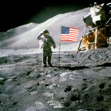 US Astronaut James B Irwin Saluting American Flag Next to Lunar Module During Apollo 15 Mission